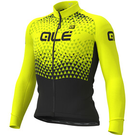 Alé Cycling Solid Summit Maglia Jersey A Maniche Lunghe Uomo, black-fluo yellow